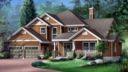 House Plan 52617 with 4 Beds, 3 Baths, 2 Car Garage Elevation