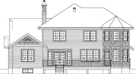 House Plan 52617 with 4 Beds, 3 Baths, 2 Car Garage Rear Elevation