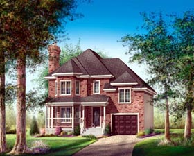 House Plan 52619 | Style Plan with 1860 Sq Ft, 3 Bedrooms, 2 Bathrooms, 1 Car Garage Elevation