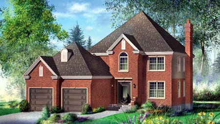 House Plan 52621 with 4 Beds, 3 Baths, 2 Car Garage Elevation