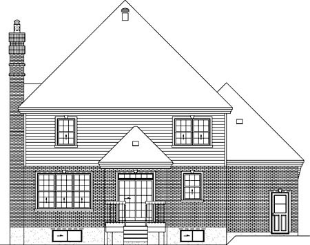 Rear Elevation of Plan 52621