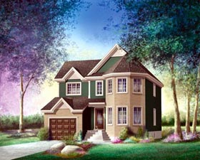 House Plan 52627   Style Plan with 1792 Sq Ft, 3 Bedrooms, 2 Bathrooms, 1 Car Garage Elevation