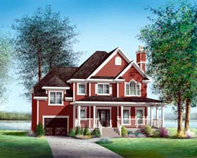 House Plan 52628 with 3 Beds, 2 Baths, 1 Car Garage Elevation