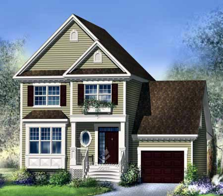 House Plan 52642 with 3 Beds , 2 Baths , 1 Car Garage Elevation