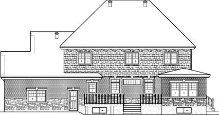 House Plan 52654 with 4 Beds, 3 Baths, 2 Car Garage Rear Elevation