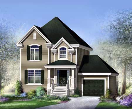 House Plan 52655 with 3 Beds, 2 Baths, 1 Car Garage Front Elevation