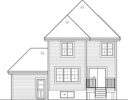 House Plan 52655 with 3 Beds, 2 Baths, 1 Car Garage Rear Elevation