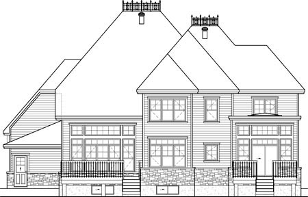 House Plan 52656 | Style Plan with 3837 Sq Ft, 3 Bedrooms, 3 Bathrooms, 2 Car Garage Rear Elevation