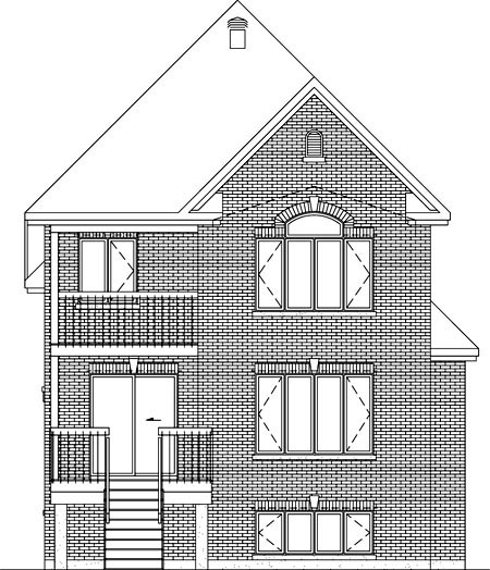 Rear Elevation of Plan 52657