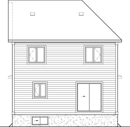 House Plan 52674 with 3 Beds, 2 Baths Rear Elevation