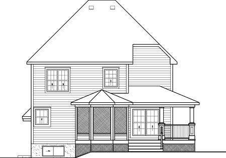 House Plan 52694 with 3 Beds, 3 Baths Rear Elevation