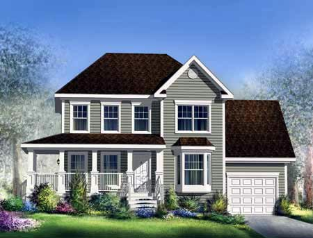 House Plan 52696 with 3 Beds, 2 Baths, 1 Car Garage Elevation