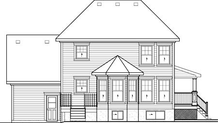 House Plan 52696 with 3 Beds, 2 Baths, 1 Car Garage Rear Elevation