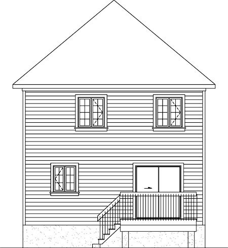Rear Elevation of Plan 52706