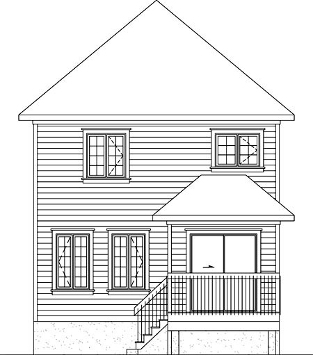 House Plan 52707 with 2 Beds, 2 Baths Rear Elevation