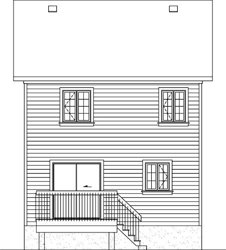 House Plan 52712 with 2 Beds, 2 Baths Rear Elevation