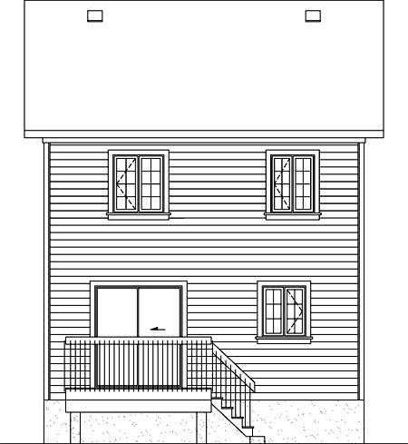 House Plan 52715 with 2 Beds, 2 Baths Rear Elevation