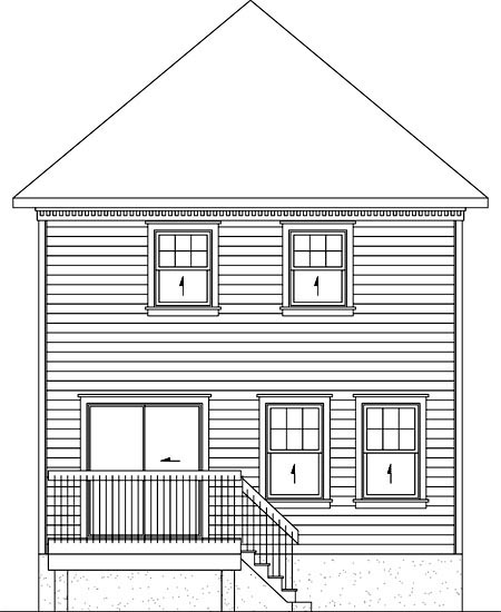 Rear Elevation of Plan 52718