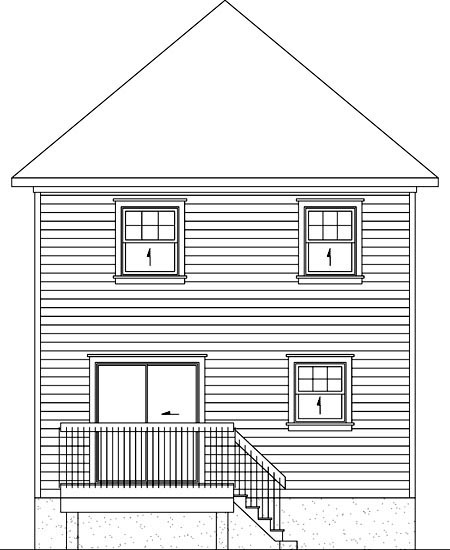 Rear Elevation of Plan 52723