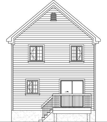 House Plan 52728 Rear Elevation