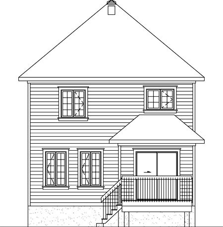 House Plan 52742 Rear Elevation