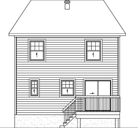 House Plan 52755 with 3 Beds, 2 Baths Rear Elevation