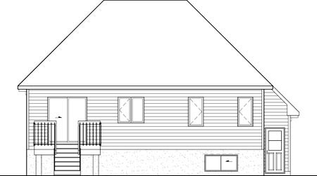 Rear Elevation of Plan 52756