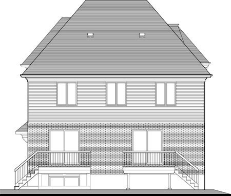 Multi-Family Plan 52760 Rear Elevation