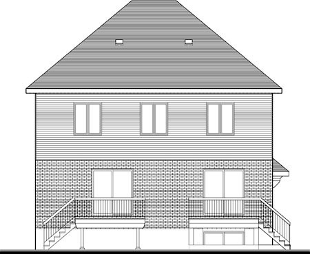 Multi-Family Plan 52761 | Style Plan with 3951 Sq Ft, 7 Bedrooms, 5 Bathrooms Rear Elevation
