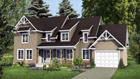 House Plan 52770   Style Plan with 2655 Sq Ft, 5 Bedrooms, 4 Bathrooms, 1 Car Garage Elevation