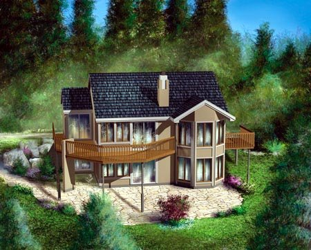 House Plan 52776 with 1 Beds, 2 Baths Rear Elevation