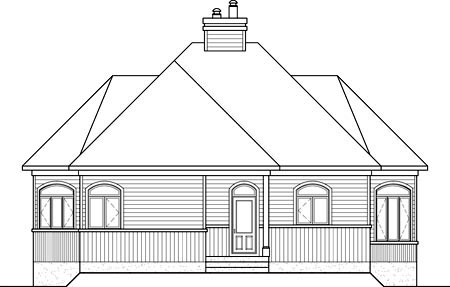 Rear Elevation of Plan 52792
