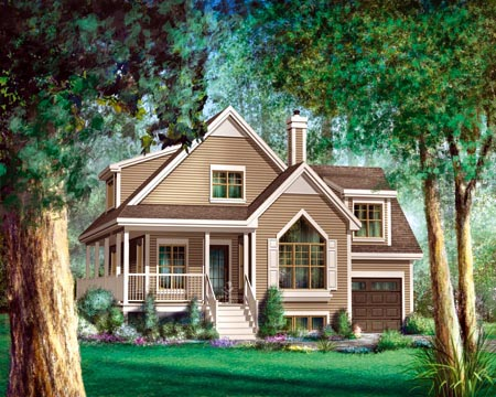 Country House Plan 52797 with 2 Beds, 2 Baths, 1 Car Garage Elevation