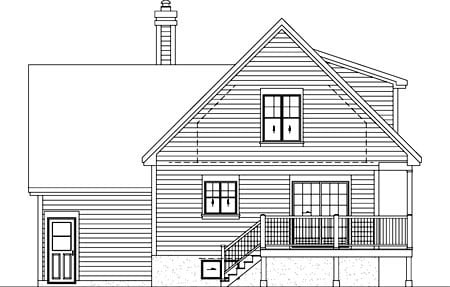 Country House Plan 52797 with 2 Beds, 2 Baths, 1 Car Garage Rear Elevation