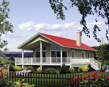 House Plan 52799 with 2 Beds, 1 Baths Front Elevation