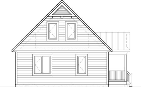 Rear Elevation of Plan 52805
