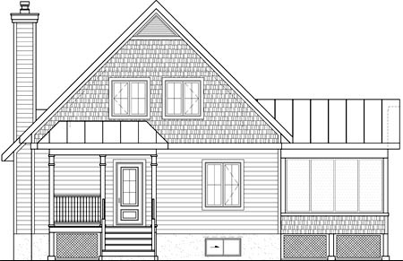 Rear Elevation of Plan 52818