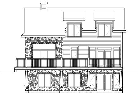 House Plan 52824 Rear Elevation