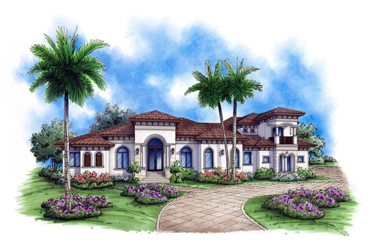 Mediterranean House Plan 52900 with 5 Beds, 5 Baths, 3 Car Garage Elevation