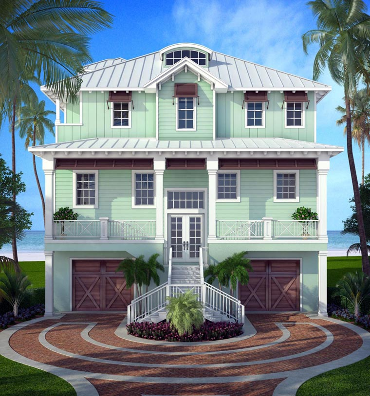 Florida House Plan 52906 with 5 Beds, 4 Baths, 2 Car Garage Front Elevation