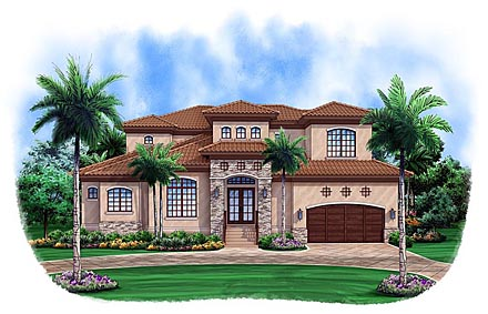 House Plan 52907 | Mediterranean Style Plan with 2906 Sq Ft, 3 Bedrooms, 4 Bathrooms, 2 Car Garage Elevation