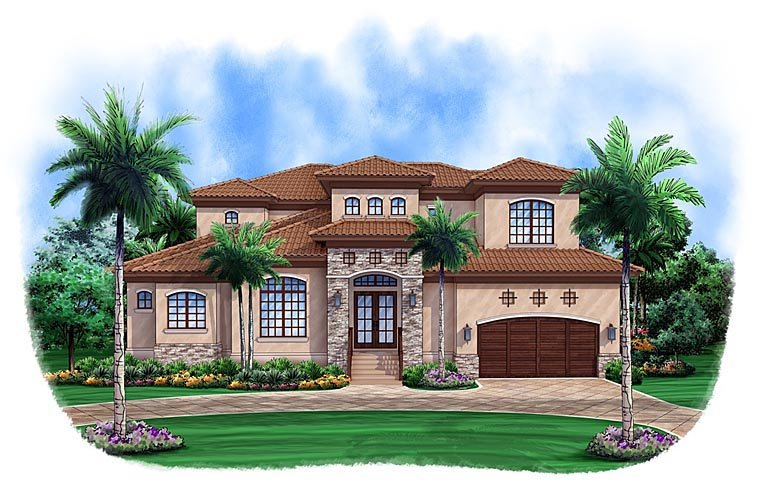 Mediterranean House Plan 52907 with 3 Beds, 4 Baths, 2 Car Garage Elevation