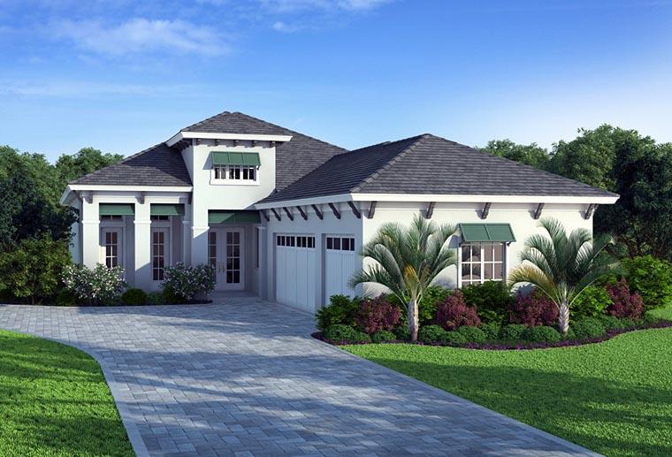 Coastal, Mediterranean House Plan 52909 with 3 Beds, 4 Baths, 3 Car Garage Picture 1