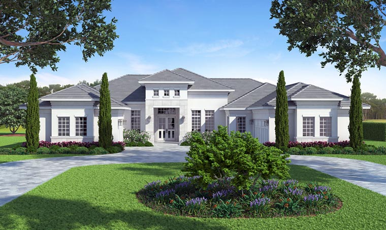 Florida, Mediterranean House Plan 52914 with 3 Beds, 5 Baths, 3 Car Garage Picture 1