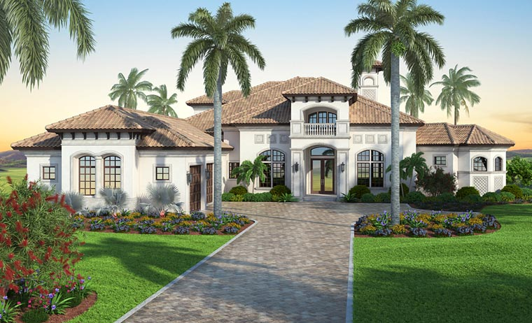 Mediterranean House Plan 52915 with 7 Beds, 6 Baths, 3 Car Garage Front Elevation