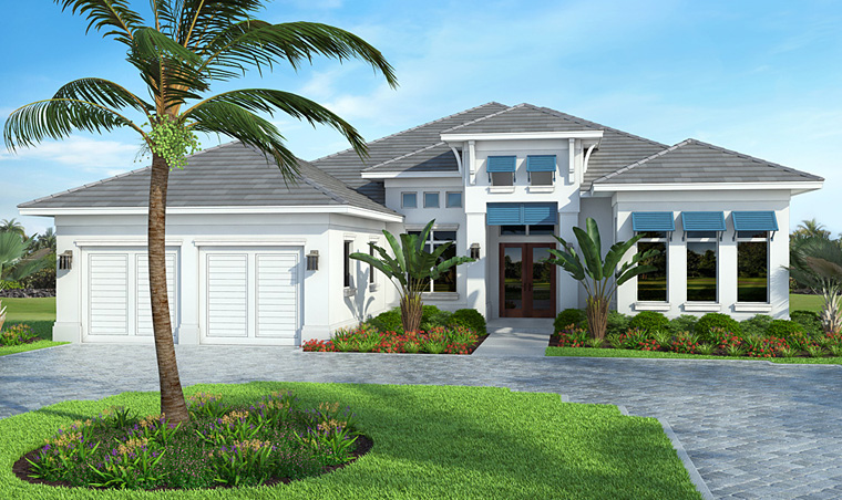 Coastal Mediterranean House Plan 52916