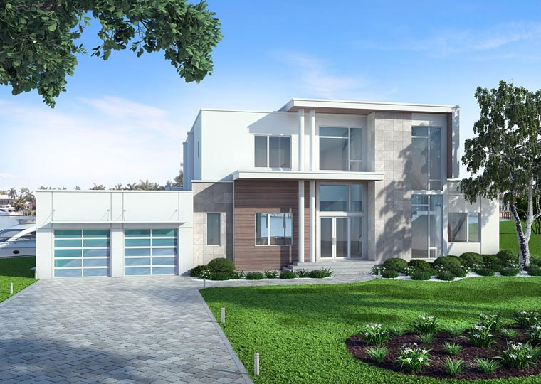 Contemporary, Modern House Plan 52917 with 4 Beds, 5 Baths, 3 Car Garage Elevation