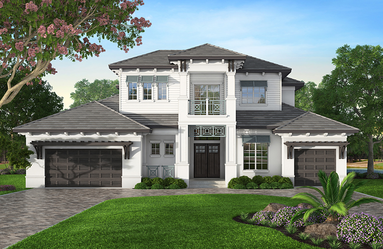 Coastal, Mediterranean House Plan 52918 with 4 Beds, 5 Baths, 3 Car Garage Picture 1
