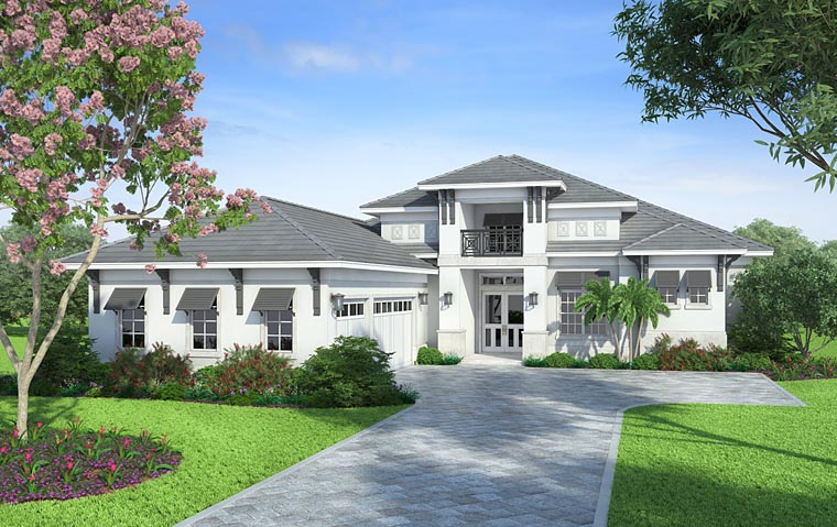 Coastal, Florida, Mediterranean House Plan 52919 with 4 Beds, 5 Baths, 3 Car Garage Picture 1