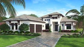 Coastal , Contemporary , Florida House Plan 52921 with 4 Beds, 3 Baths Elevation